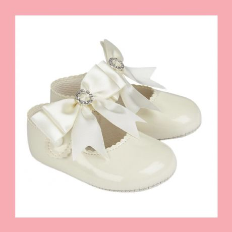 Girls Ivory Sparkle Bow  Baypod Pram Shoes